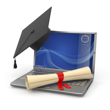 E-learning graduation  Laptop, diploma and mortar board  3d photo