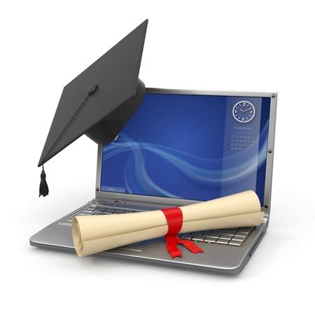 E-learning graduation  Laptop, diploma and mortar board  3d Stock Photo - 14689951