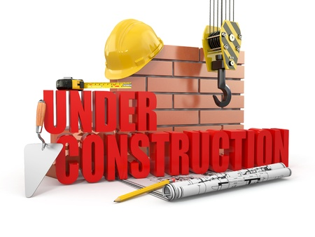under construction: Under construction. Tools, hardhat and wall. 3d