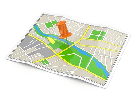 Location. Map and thumbtack. GPS concept. 3d photo