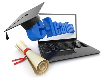 computer training: E-learning. Laptop, diploma and mortar board. 3d