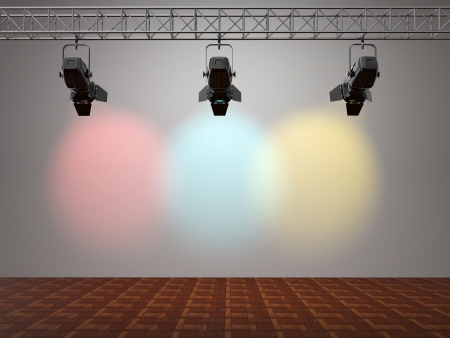 stage set: Multicolor spotlights illuminated wall. Space for text. 3d