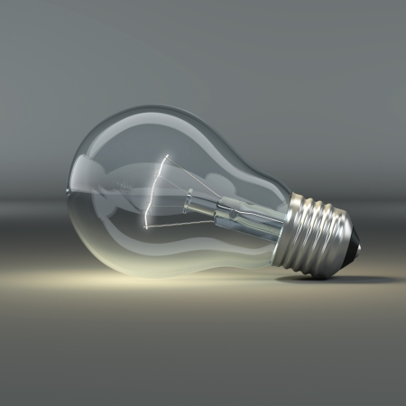 idea generation: Light bulb on grey background. 3d Stock Photo