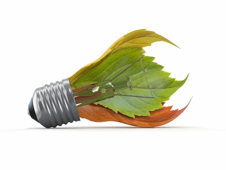 Ecology concept. Light bulb with leaf. 3d Stock Photo - 14747560