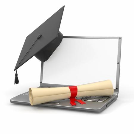 mortero: E-learning de la graduación. Ordenador portátil, diploma y birrete. 3d Foto de archivo