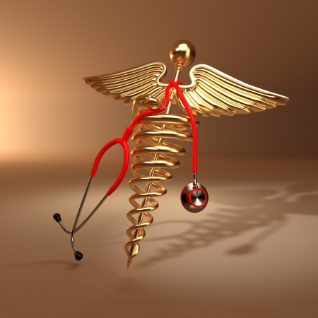 Medical background. Stethoscope, caduceus symbol  and cardiogram. 3d photo
