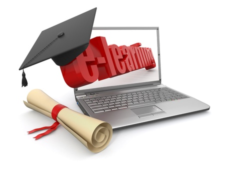 E-learning  Laptop, diploma and mortar board  3d photo