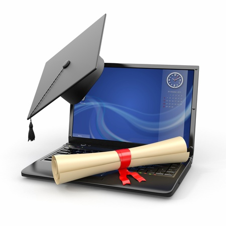 Webinar: E-learning graduation  Laptop, diploma and mortar board  3d Stock Photo