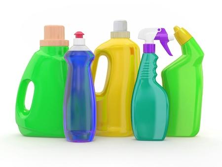 detersivi: Diverse bottiglie di detersivo su sfondo bianco. 3d Archivio Fotografico