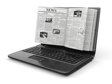 reading news: News  Newspaper as  laptop screen on white background  3d Stock Photo