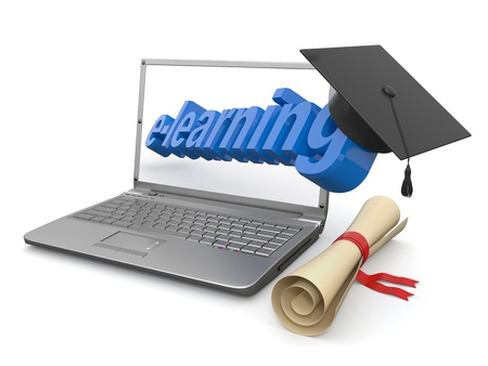 E-learning  Laptop, diploma and mortar board  3d Stock Photo - 15260701