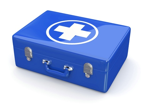 safety first:  First aids  Medical Kit on white isolated background  3d Stock Photo