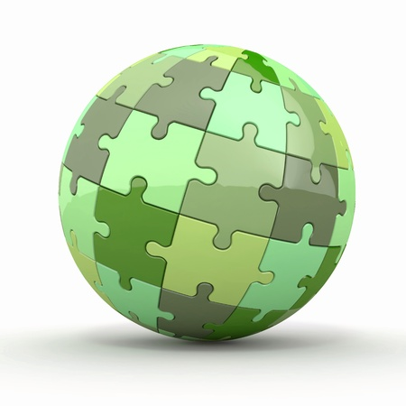 Globe or sphere from puzzles on white background  3d photo