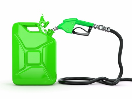 petrol can: Gas pump nozzle and jerrycan on white background  3d