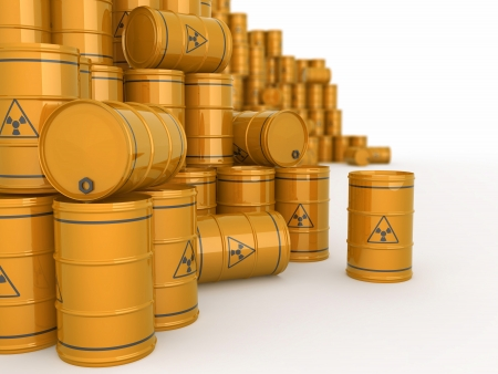 chemical hazard: A barrels of radioactive waste on white  background  3d