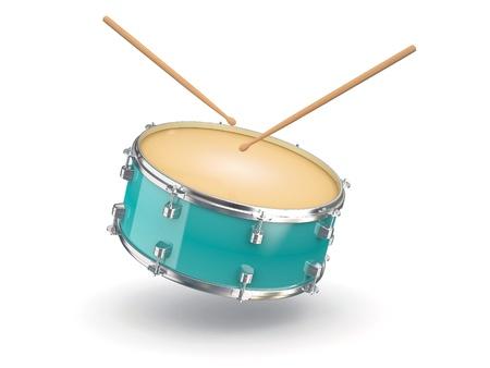 tambor: Drum and baquetas no fundo branco isolado 3d