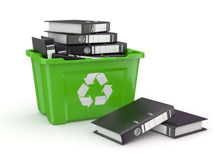 eliminate waste: Folders in recycle bin on white background  3d