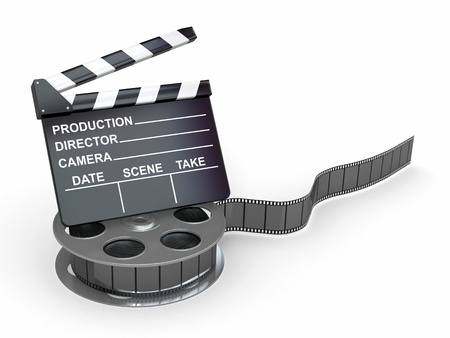s video: Movie industry  Clapperboard and film reel  3d Stock Photo