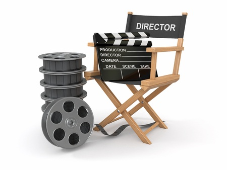 Movie industry  Producer chair, ñlapperboard and film reel  3d