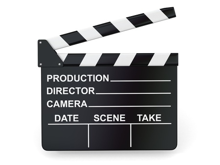 action movie: Movie industry  Clapperboard on white background  3d Stock Photo