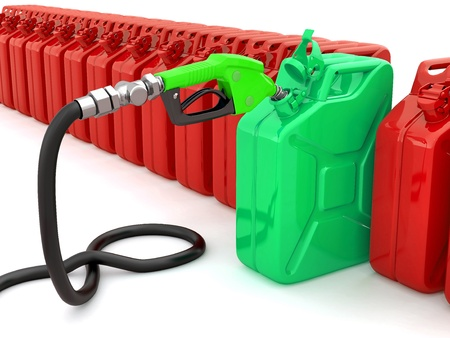 Gas pump nozzle and fuel can on white background  3d photo