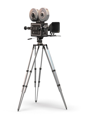 tripods: Vintage movie camera on white background  3d Stock Photo