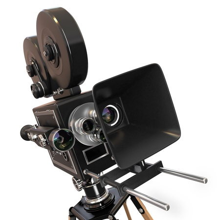 Vintage movie camera on white background  3d photo