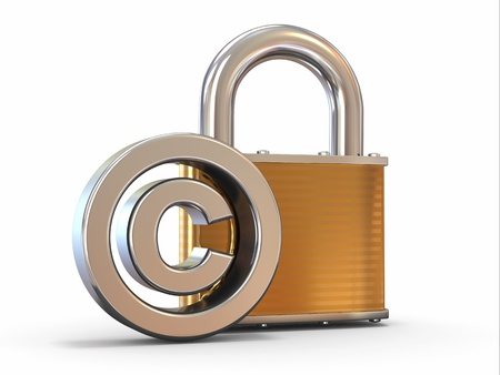 patent: Sign of copyright with padlock on white background  3d