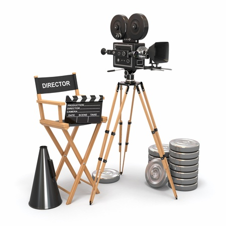 Movie composition  Vintage camera, director chair and reels  3d photo
