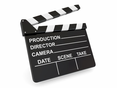 Movie industry  Clapperboard on white background  3d Stock Photo