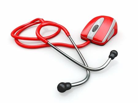 equipos medicos: Stethscope y rat�n del ordenador. Tecnolog�as m�dicas. 3d Foto de archivo