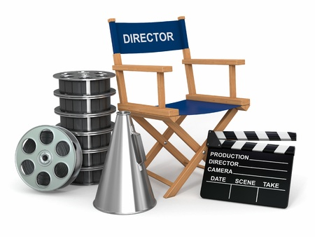 producer: Movie industry. Producer chair, ñlapperboard and film reels. 3d