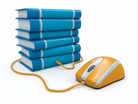 Internet education. Books and computer mouse. 3d photo
