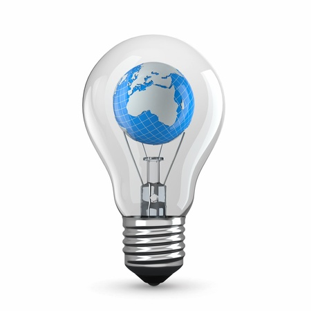 Earth in light bulb on white background. 3d Stock Photo - 15475189