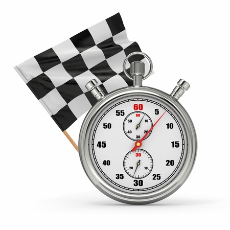 Stopwatch with checkered flag. Start - finish. 3d photo