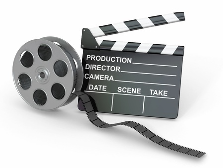 Movie industry  Clapperboard and film reel  3d photo
