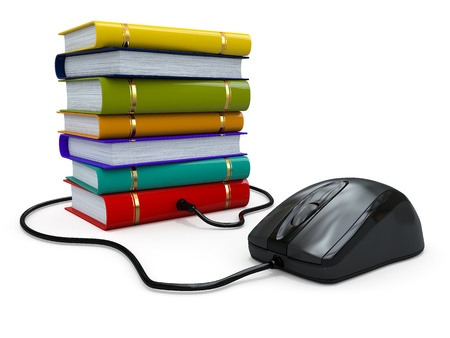 Internet education  Books and computer mouse  3d Stock Photo - 15649730