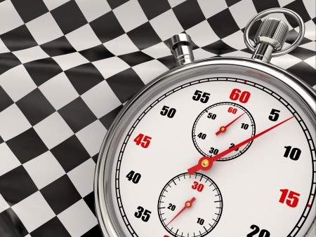 race flag: Stopwatch with checkered flag  Start or finish  3d