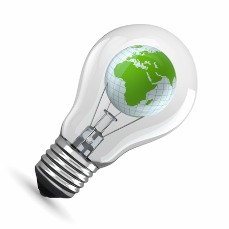 Earth in light bulb on white background  3d photo