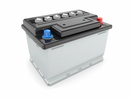 bateria: Batería de coche sobre fondo blanco Imagen tridimensional