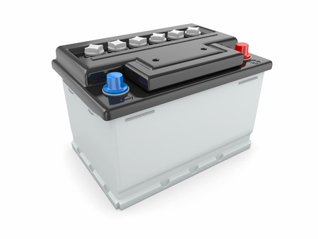 lead: Car battery on white background  Three-dimensional image