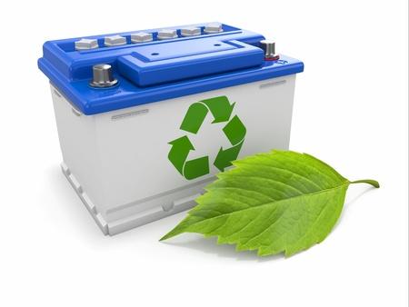 pila: Batería de coche con verde de reciclaje signo 3d