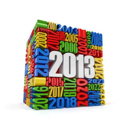 New year 2013 cube built from numbers  3d