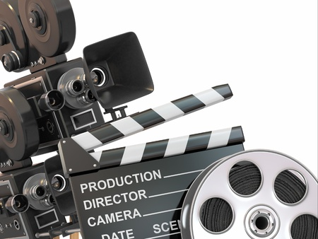 Movie composition  Vintage camera, reel and clapperboard  3d photo
