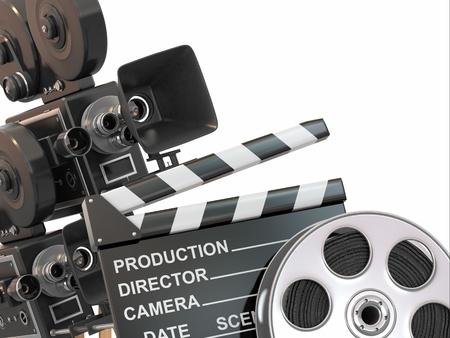 filmregisseur: Movie samenstelling Uitstekende camera, reel en clapperboard 3d Stockfoto