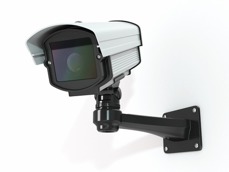 paranoia: CCTV security camera on white background  3d Stock Photo