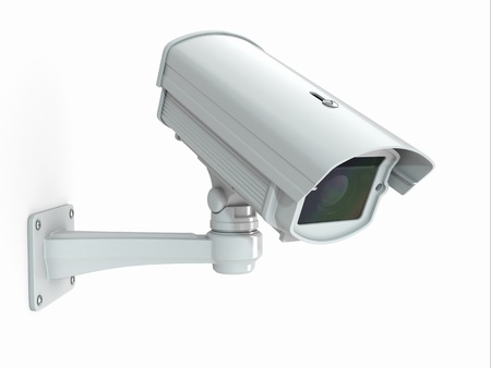looking away from camera: CCTV security camera on white background  3d Stock Photo