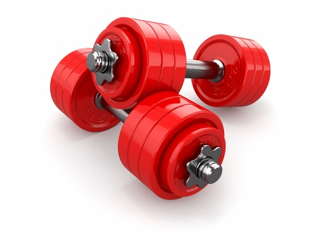 dumbells: Iron dumbbells weights on white background  3d