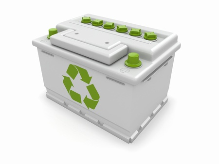 Car battery with green recycle sign  3d Stock Photo - 15777612