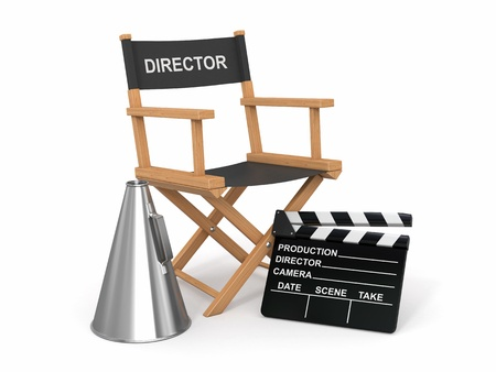Movie industry  Producer chair, ñlapperboard and bullhornl  3d photo